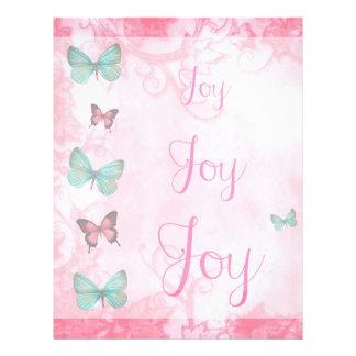 Girly Blue Butterflies Pink Leaves Joy Letterhead