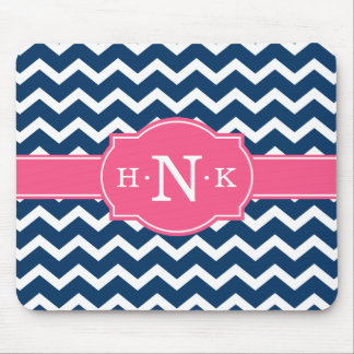 Girly Blue Chevron Pink Monogram Mouse Pad