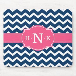 Girly Blue Chevron Pink Monogram Mouse Pad