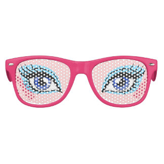Girly Blue Doll Eyes Girl's Party Costume Glasses