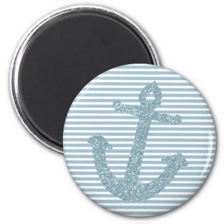 Girly Blue Glitter Anchor 2 Inch Round Magnet