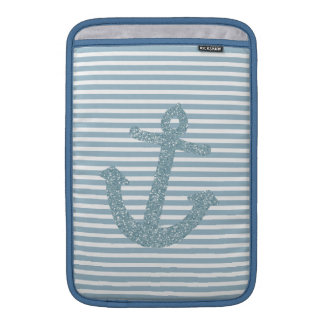 Girly Blue Glitter Anchor MacBook Air Sleeve