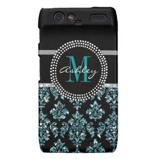Girly Blue Glitter Black Damask Personalized Motorola Droid RAZR Case