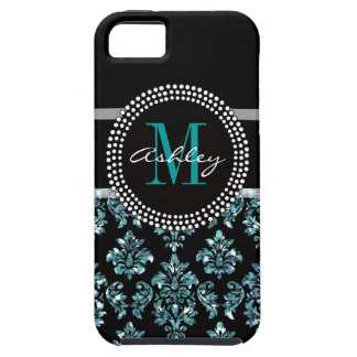 Girly Blue Glitter Black Damask Personalized iPhone 5 Case