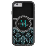 Girly Blue Glitter Black Damask Personalized Tough Xtreme iPhone 6 Case