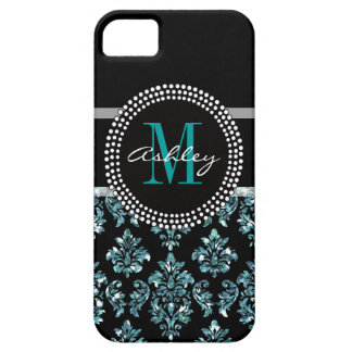 Girly Blue Glitter Black Damask Personalized iPhone 5 Covers