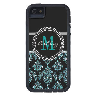 Girly Blue Glitter Black Damask Personalized Case For iPhone SE/5/5s