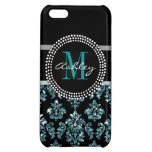 Girly Blue Glitter Black Damask Personalized Cover For iPhone 5C