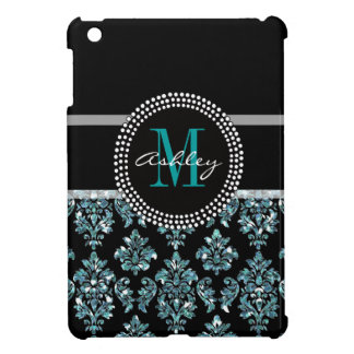 Girly Blue Glitter Black Damask Personalized Cover For The iPad Mini