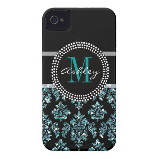 Girly Blue Glitter Black Damask Personalized iPhone 4 Case