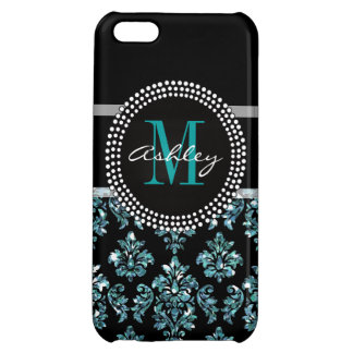 Girly Blue Glitter Black Damask Personalized Case For iPhone 5C
