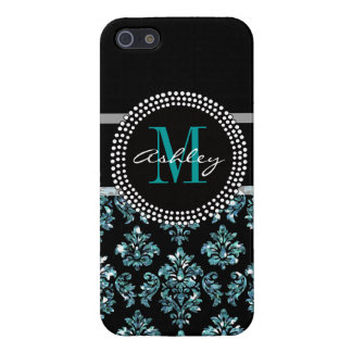 Girly Blue Glitter Black Damask Personalized Case For iPhone 5