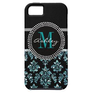 Girly Blue Glitter Black Damask Personalized iPhone SE/5/5s Case