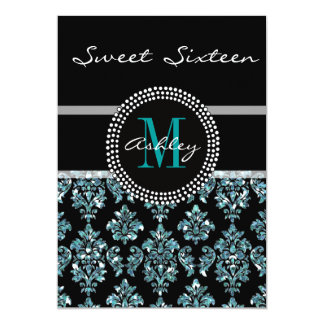 Girly Blue Glitter Black Damask Personalized Party Card