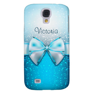 Girly Blue Glitter Holiday Galaxy 4 Case Galaxy S4 Cases