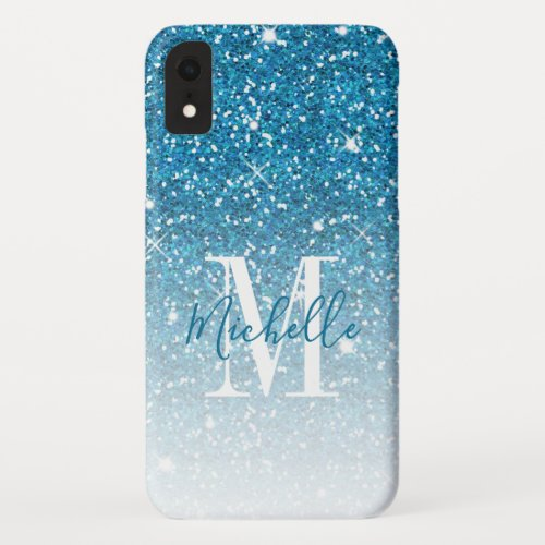 Girly Blue Glitter Sparkles Monogram Script Name iPhone XR Case