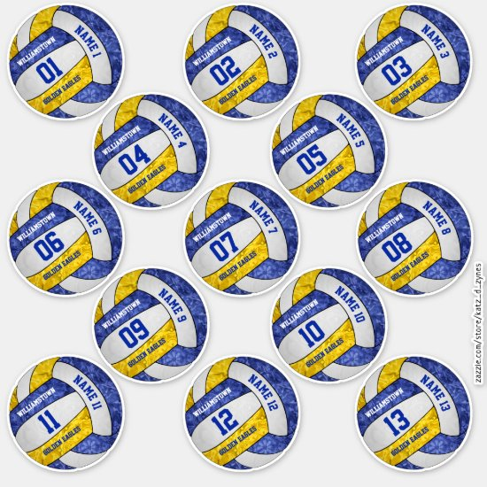girly blue gold volleyball player names set of 13 sticker