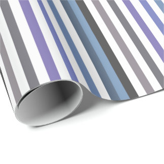 Girly Blue Gray Wide Horizontal Stripes Pattern Wrapping Paper