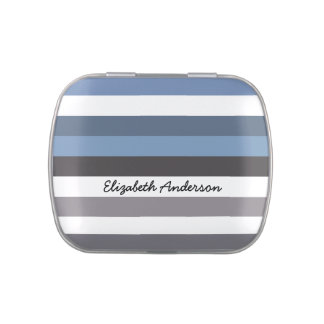Girly Blue Gray Wide Horizontal Stripes With Name Candy Tins