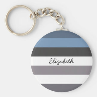 Girly Blue Gray Wide Horizontal Stripes With Name Keychain