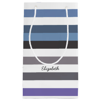 Girly Blue Gray Wide Horizontal Stripes With Name Small Gift Bag