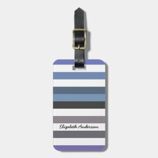 Girly Blue Gray Wide Horizontal Stripes With Name Travel Bag Tags