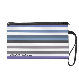 Girly Blue Gray Wide Horizontal Stripes With Name Wristlet Purse