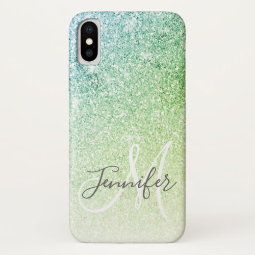 Girly Blue Green Glitter Blush Monogram Name Phone Case