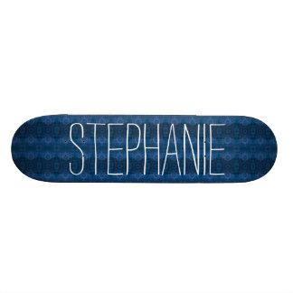 Girly Blue Lacy Pattern Custom Name Z02 Skateboard Deck