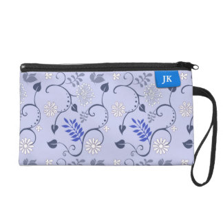 Girly Blue Leafs & Clothing Label Custom Name Wristlet Purse