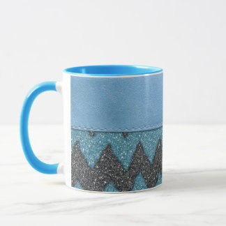 Girly Blue Leather Zebra Pattern Glitter Print Mug