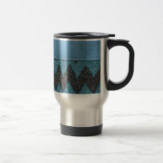 Girly Blue Leather Zebra Pattern Glitter Print Travel Mug
