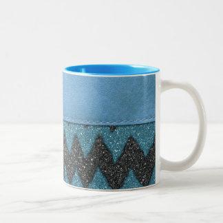 Girly Blue Leather Zebra Pattern Glitter Print Two-Tone Coffee Mug
