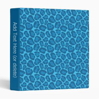 Girly Blue Leopard Pattern Binder