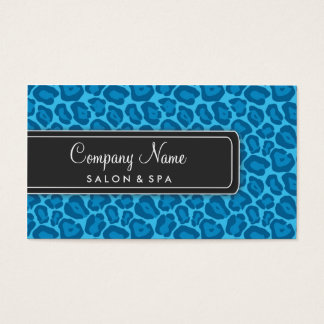 Girly Blue Leopard Salon Business Cards