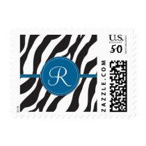 Girly Blue Monogram Zebra Print Postage