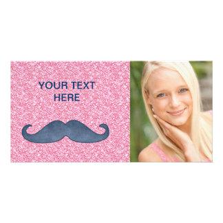 GIRLY BLUE MUSTACHE PINK GLITTER PHOTO CARD