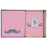 GIRLY BLUE MUSTACHE PINK GLITTER PHOTO CASE FOR iPad