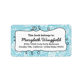 Girly Blue Paisley Ladies Doodle Bookplate Address Label