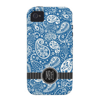 Girly BLUE Paisley Pattern Personalized Vibe iPhone 4 Covers