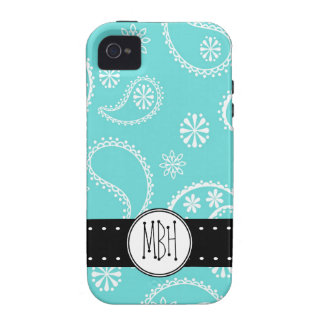 Girly Blue  Paisley Pattern with Initials Case-Mate iPhone 4 Case
