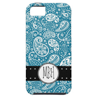 Girly BLUE Paisley Pattern with Monogram iPhone 5 Cases