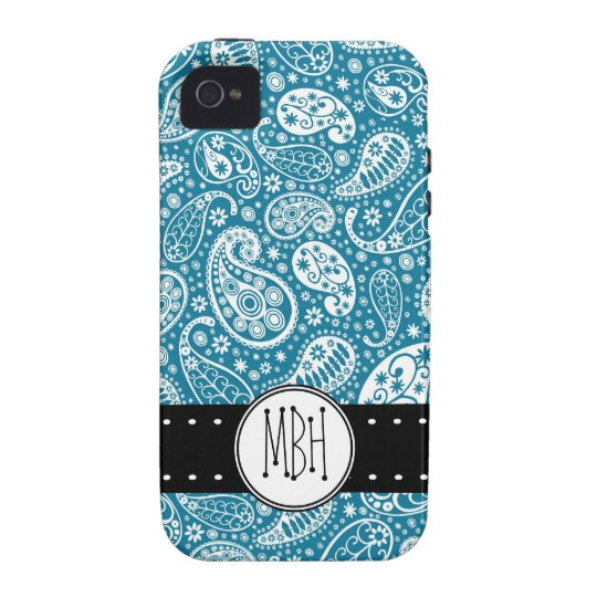 Girly BLUE Paisley Pattern with Monogram iPhone 4/4S Case