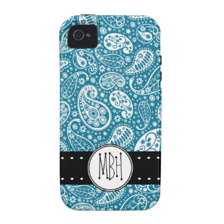 Girly BLUE Paisley Pattern with Monogram Vibe iPhone 4 Covers