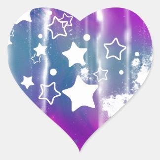 Girly Blue Purple Abstract Star Heart Sticker