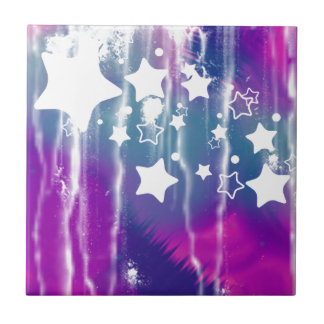 Girly Blue Purple Abstract Star Ceramic Tiles