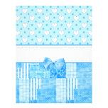 Girly Blue Scrapbook Paper Customized Letterhead