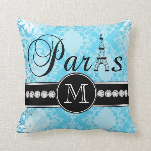 Girly Blue Vintage Damask Black Paris Monogram Pillows