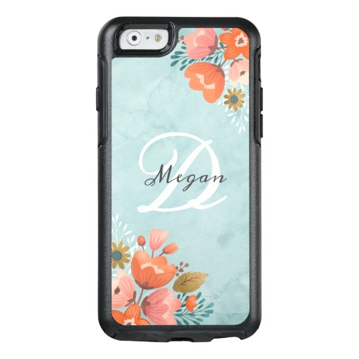 Girly Blue Watercolor Monogram Floral OtterBox iPhone 6/6s Case