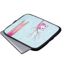 Girly Blue Whimsical Owl Laptop Sleeve
